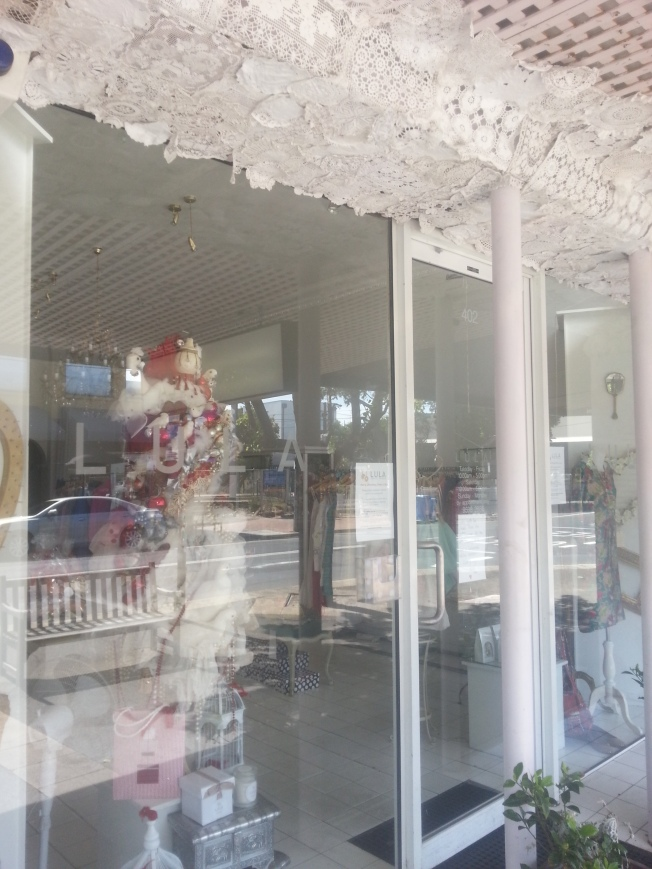 Shop decorated with lace doilies